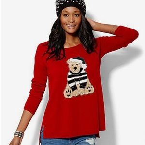 New York & Company Christmas Sweater Red Small